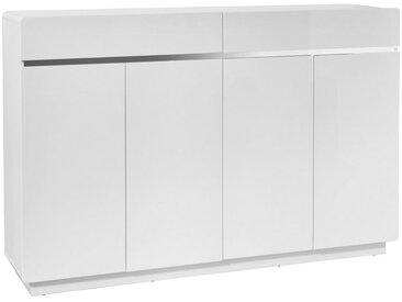 Xora SCHUHSCHRANK Hochglanz Weiß, Silber , 8 Fächer, 160.3x104.5x34.5 cm