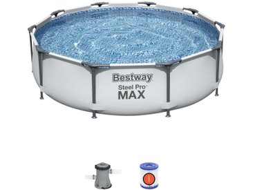 Bestway POOLSET 56408 305/76 cm Mehrfarbig, Weiß , Metall, Kunststoff, Uni, 76 cm
