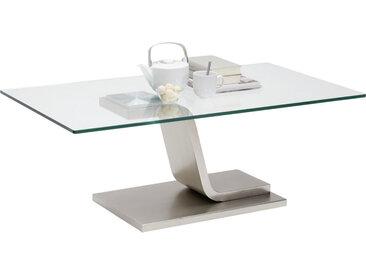 Novel COUCHTISCH rechteckig Silber , Metall, Glas, 65x42 cm
