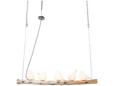 Kare-Design HÄNGELEUCHTE, Weiß, Holz, Keramik, Eukalyptusholz, massiv, Vogel, 120x120x15 cm