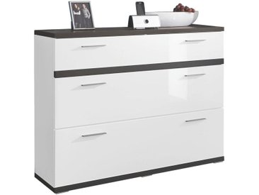 Livetastic SCHUHSCHRANK Weiß , Graphit, Weiß, Metall, 120x93x37 cm
