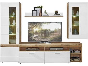 Xora WOHNWAND Weiß, Braun , Glas, 8 ( 5 Glasböden und 3 Einlegeböden) Fächer, 280x192x51 cm