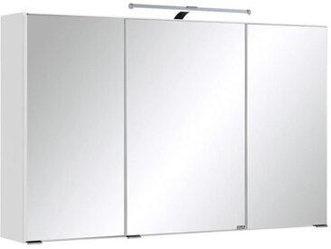 Carryhome SPIEGELSCHRANK Weiß , Glas, 6 Fächer, 100x66x20 cm