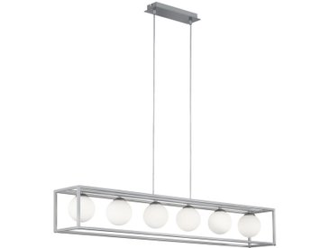 Wofi LED-HÄNGELEUCHTE , Weiß, Nickel, Metall, Glas, 105x150x16 cm