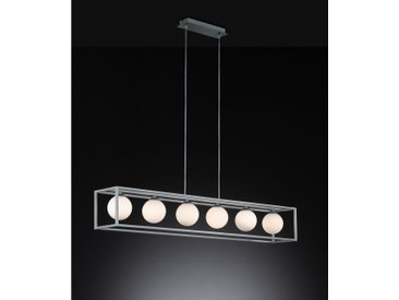 XXXLutz LED-HÄNGELEUCHTE , Weiß, Silber, Metall, Glas, 105x150x16 cm