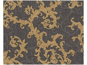 XXXLutz VLIESTAPETE 10,05 m , Schwarz, Gold, Floral, 70x1005 cm
