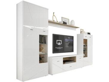 MID.YOU ANBAUWAND Weiß, Braun , Glas, 12 Fächer, 340x196x40 cm