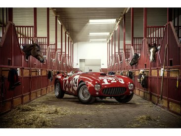 Wiedemann ALUMINIUMBILD Fahrzeuge Horses 2015 | Ferrari 375 MM Spider Pininfarina , Mehrfarbig, Metall, Kunststoff, 120x80 cm