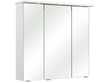 Xora SPIEGELSCHRANK Weiß , Glas, 6 Fächer, 80x78x20 cm