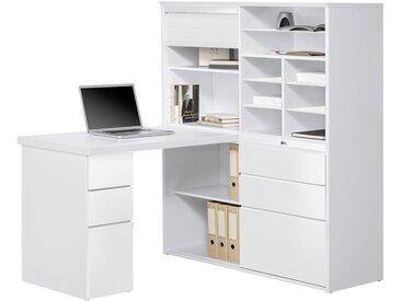 XXXLutz MINI-OFFICE Schreibtisch seitenverkehrt montierbar Weiß, Glas, 8 Fächer, 126.6x150x187 cm