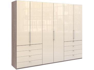 Venda FALTTÜRENSCHRANK 3 -türig Braun, Weiß , Trüffeleiche, Weiß, 6 Fächer, 300x236x58 cm