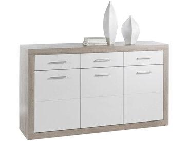 Livetastic SIDEBOARD Weiß, Beige , Kunststoff, 3 Fächer, 147x89x37 cm