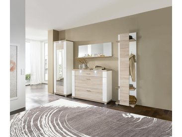 Xora SCHUHSCHRANK Weiß, Braun , 129x108x42 cm