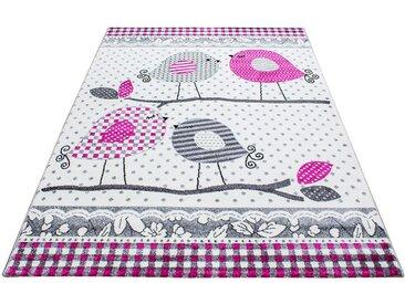 Ben'n'jen: KINDERTEPPICH 160/230 cm Grau, Weiß, Pink