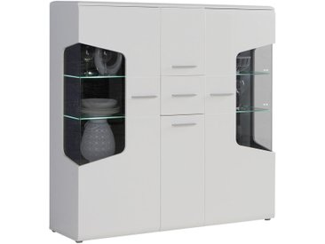 Hom`in HIGHBOARD Weiß, Braun , Holz, Glas, 7 Fächer, 155x150x41 cm