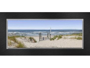 Euroart GLASBILD Strand & Meer , Mehrfarbig, Metall, Glas, 50x125x3.50 cm