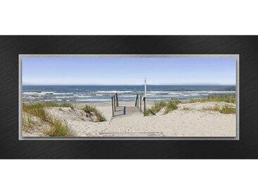 XXXLutz GLASBILD Strand & Meer , Mehrfarbig, Metall, Glas, 50x125x3.50 cm