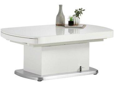 Venda COUCHTISCH rechteckig Weiß , Metall, Glas, 75x50-78x120-180 cm