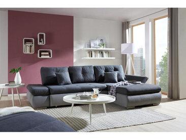 Carryhome WOHNLANDSCHAFT Grau, Grau Webstoff , 3-Sitzer, 187 cm