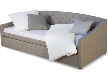 Polsterbett 90x200 Grau Bettkasten Tagesbett Schlafcouch Gästebett Ausziehbar