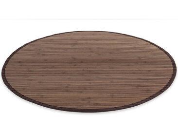 Bambusmatte Bambusteppich 150 cm rund dunkelbraun Bambus Teppich
