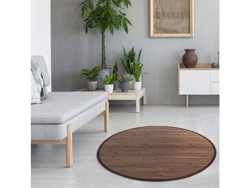 Bambusmatte 200 cm rund dunkelbraun Bambusteppich Teppich