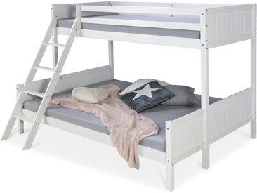 Kinderbett Etagenbett 90x200 und 140x200 Jugendbett Hochbett Weiß Holz