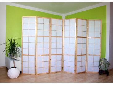Paravent Raumteiler 6 teilig Holz natur Reispapier weiß