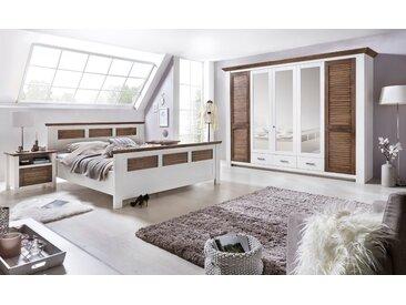Schlafzimmer Set mit Bett 180x200 + Schrank 284cm + 2x Nachttische Pinie Laguna