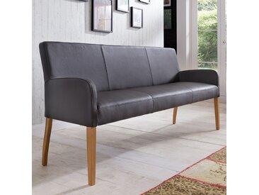 Sitzbank aus Leder 123 cm mit Holzgestell Alfo