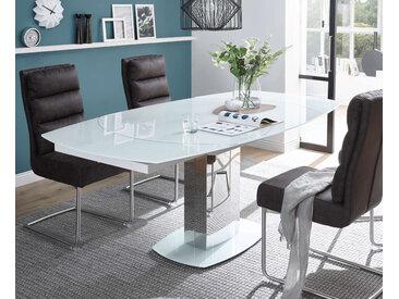 Esstisch Glas ausziehbar weiß 130x100 cm Monza