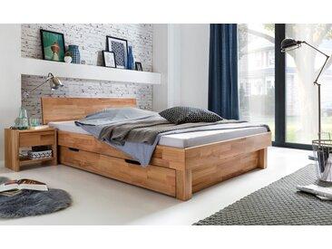 Bett mit Schublade 140x200 und 2x Nachttischen Kernbuche massiv Celine