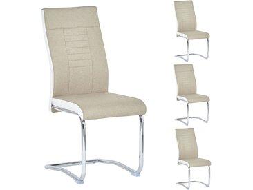 4er Set Esszimmerstuhl ALBA in beige-weiß