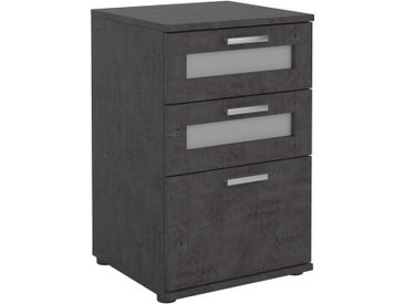 CARO-Möbel Nachttisch MARIKE in Betonoptik dunkel mit 3 Schubladen