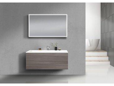 Intarbad CUBO Badmöbel Set grifflos 120 cm Waschtisch mit Unterschrank und Lichtspiegel Weiß Hochglanz Lack