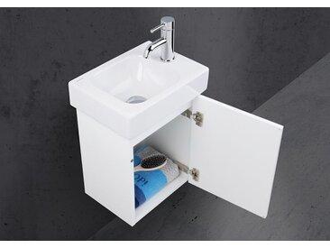 Geberit Icon XS 38x28 cm Waschbecken mit Unterschrank grifflos, Gäste Badmöbel Set vormontiert