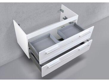 Waschtischunterschrank nach Maß, mit Ausschnitt für Ablauf, 2x Auszüge mit Softclose, Made in German Weiß Hochglanz Lack