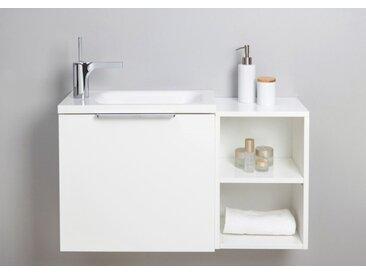 Gäste WC Badmöbel Set, Waschtisch mit Unterschrank, Made in Germany Weiß Hochglanz Lack