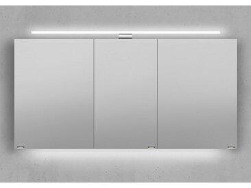 Spiegelschrank 140 cm LED Beleuchtung doppelseitig verspiegelt Weiß Hochglanz Lack