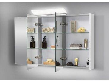 Spiegelschrank Bad 120 cm LED Beleuchtung doppelseitig verspiegelt Weiß Hochglanz Lack