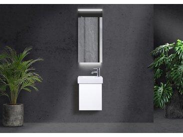 Geberit Icon XS 38x28 cm Waschbecken, Gäste WC Badmöbel grifflos, mit LED Lichtspiegel