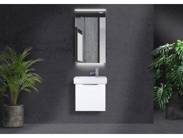 Badmöbel mit Geberit Icon XS Waschbecken 53x31 cm Hahnloch rechts, Gästebad mit LED Lichtspiegel