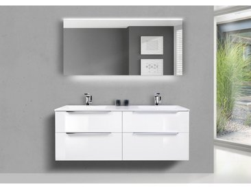 Doppelwaschbecken Evermite 150 cm mit Unterschrank, Badmöbel SKY, Lichtspiegel Led Weiß Hochglanz Lack