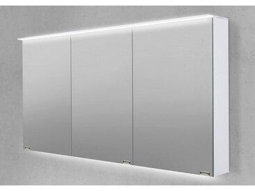 Spiegelschrank 150 cm LED Acryl Lichtplatte doppelt verspiegelt Weiß Hochglanz Lack