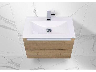 Intarbad Slide Gästebad, Waschtisch 60x35 cm Unterschrank mit Auszug, Made in Germany Weiß Hochglanz Lack