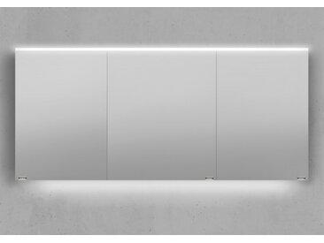 Spiegelschrank 160 cm integrierte LED Beleuchtung doppelt verspiegelt Weiß Hochglanz Lack