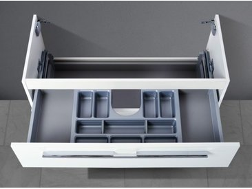 Waschtisch Unterschrank zu Villeroy & Boch Subway 2.0 100 cm, mit Kosmetikeinsatz Weiß Hochglanz Lack