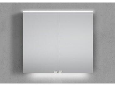 Spiegelschrank 80 cm integrierte LED Beleuchtung doppelseitig verspiegelt Weiß Hochglanz Lack