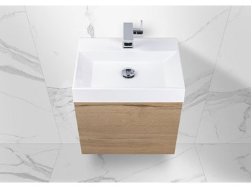 Gäste Waschtisch Set Intarbad Bella.Mini, Unterschrank mit Waschtisch 50x36 cm Weiß Hochglanz Lack