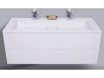 Badmöbel Cubo grifflos 120 cm Doppelwaschtisch mit Unterschrank, Made in Germany Weiß Hochglanz Lack